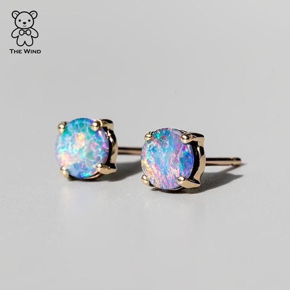 Minimalist Rainbow Australian Doublet Opal Round Stud Earrings 14K Yellow Gold