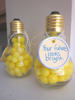 """For a """"bright"""" graduate - light bulb jars, tags, & candy. Attach a gift card, use Smarties® for the candy, & tag with """"Your future's looking bright, Smartie-pants!"""", or use school colors for candy-coated chocolates & skip the 'smartie-pants' line."""