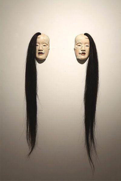 """malformed Noh mask series half sleleton's twins"", 2007 by ODANI Motohiko, Japan"
