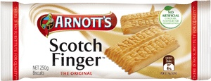 Arnott's Scotch Finger Biscuits 250g. A golden and buttery biscuit which is intended to be snapped into two pieces.