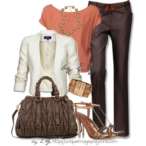 Chocolate Dress Pant, created by uniqueimage on Polyvore Brown pant, white jacket, blush top, metallic accessories - trying it!