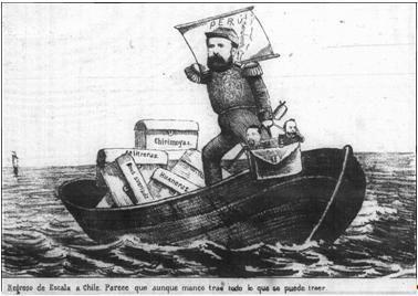 El Barberocelebró la victoria de las armas chilenas en la Campaña de Tarapacá con esta caricatura, donde muestra al general en jefe del ejército Erasmo Escala en actitud muy altiva