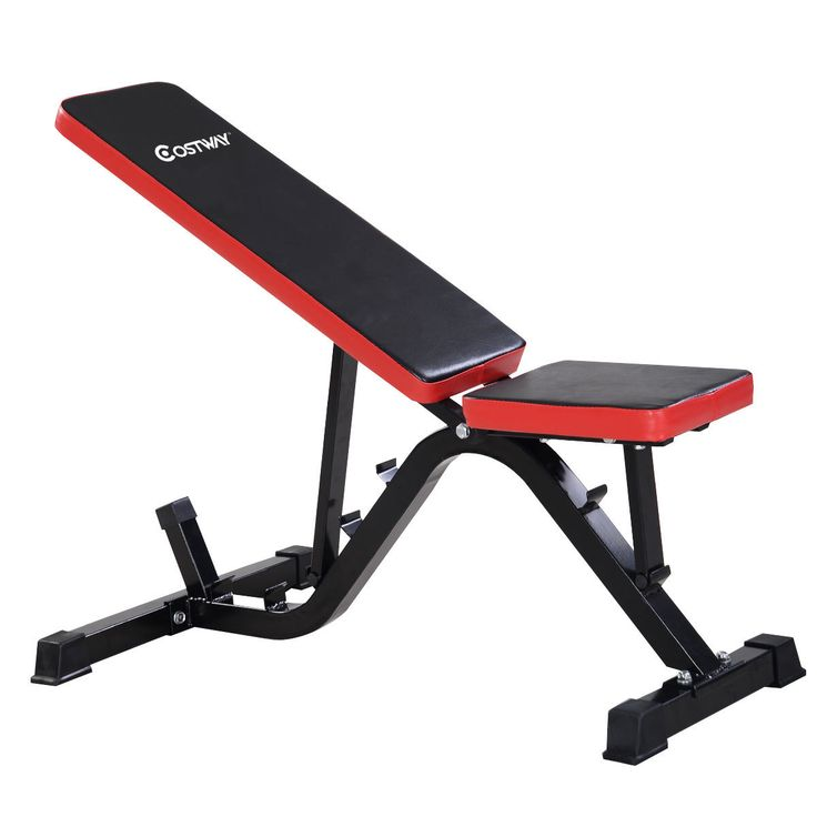 Bench Press Abs Part - 46: Costway Adjustable Sit Up AB Incline Abs Bench Flat Fly Weight Press Gym Red