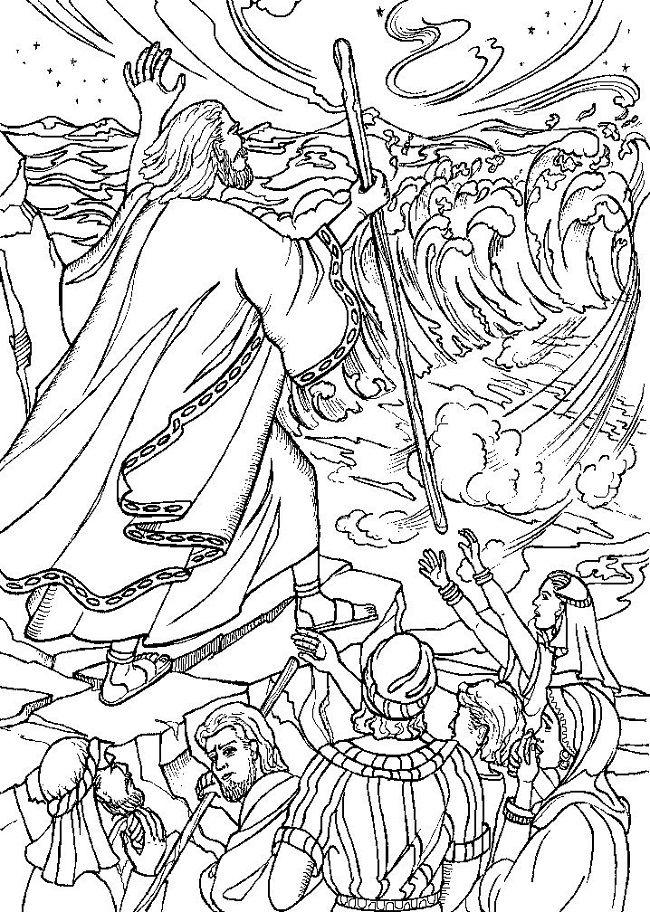 moses red sea crossing coloring pages | moses crossing the red sea coloring pages | coloring Pages ...