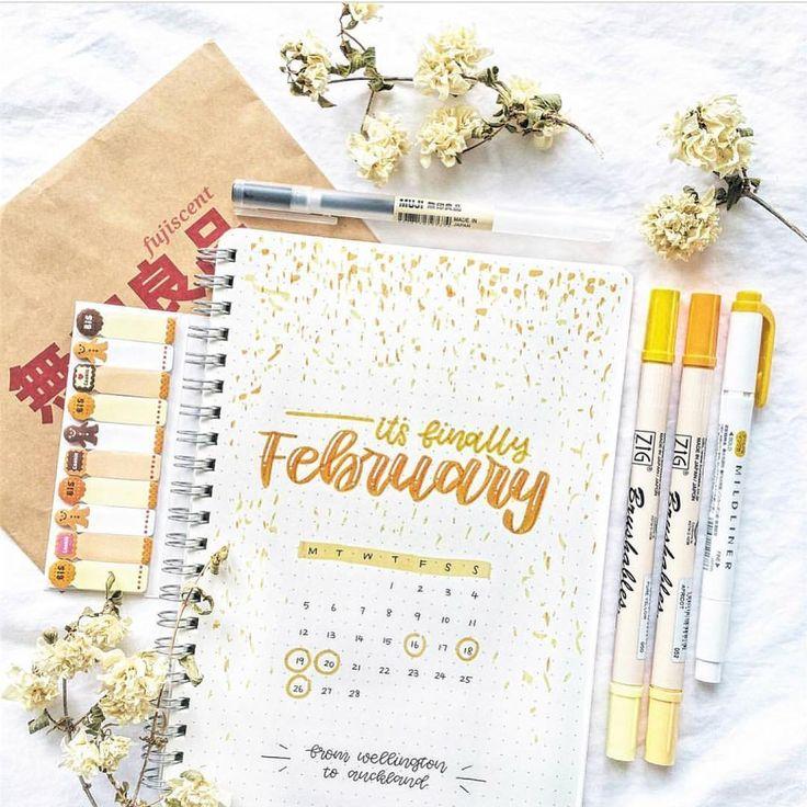 """12.4 ezer kedvelés, 166 hozzászólás – bullet journal inspiration.  (@bullet.journals) Instagram-hozzászólása: """"Comment a yellow emoji!  I love this February calendar page! ✨ by @fujiscent ⚡️// Use the tag…"""""""