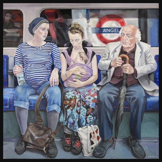 """Ewing Paddock (British) """"Painting the London Underground""""  ~   """"In June 2009 I began a three year project of making paintings of people in the London Underground. In the last few decades London has become one of the most diverse places on earth and this is even more true of the Underground – the whole world is down there, all squashed up together. I've tried to reflect that in my paintings."""""""