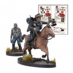 THE WALKING DEAD: ALL OUT WAR RICK H BOOSTER (INGLES) … Precio de Ocasión, Juego de miniaturas en INGLÉS. In order to quickly traverse the Walker infested ruins of Atlanta, Rick mounts up!   The horse provides a massive boost to speed, but creates a lot of noise, drawing in nearby Walkers. This Booster also includes alternate character cards for Rick and Shane.  Contents:  Rick on Horse, Walker, Character cards and Equipment cards.  Miniatures supplied assembled and unpainted. Fabricante…