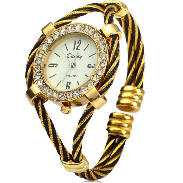 4.23$  Buy here - http://divsk.justgood.pw/go.php?t=142833404 - Dandy 221 Ladies Quartz Watch Diamond Case Bracelet with Steel Wire Strap