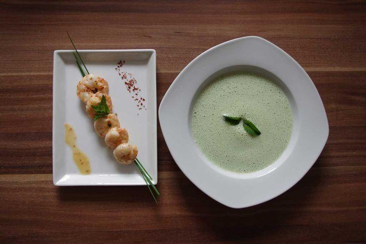No Cook Cucumber Soup with Pan Fried Shrimp