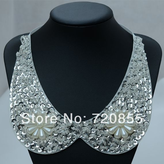 False Collar Necklace Women,Clothing accessories,Handmade Jewelry Fashion,With Simulated-pearl & Crystal, Length: Can adjustment