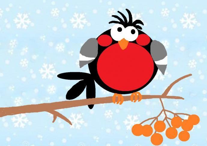 открытка аппликация снегирь на ветке