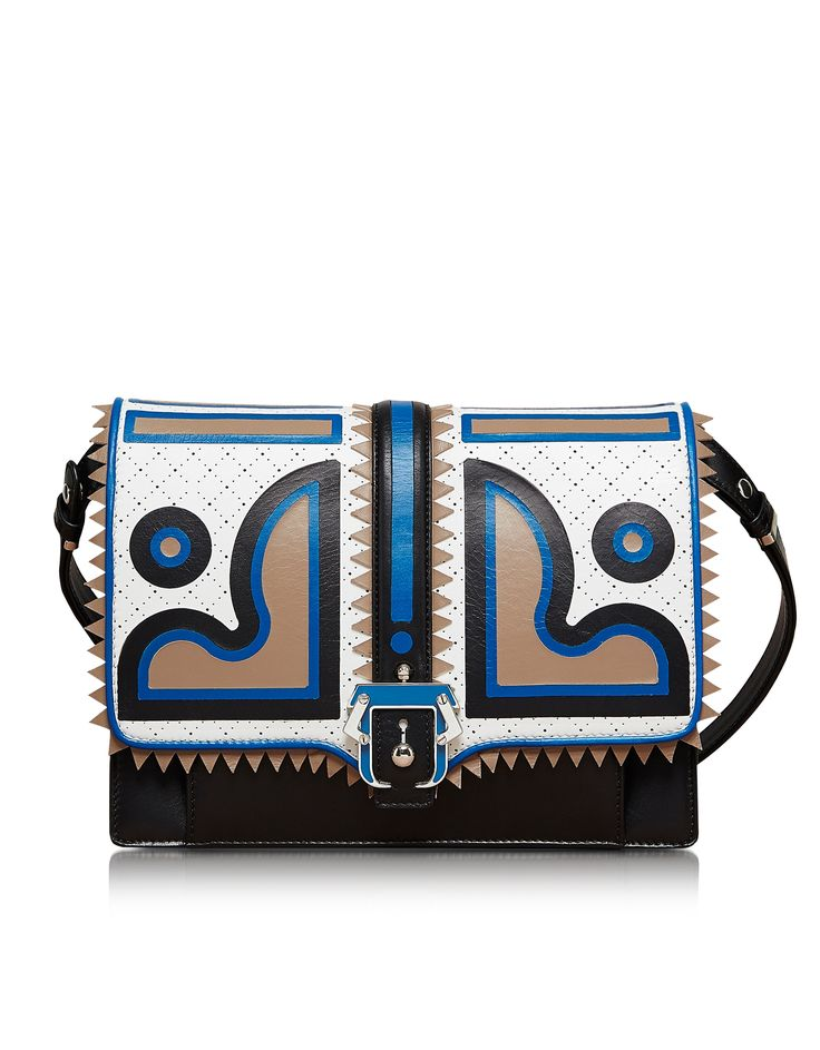 Paula Cademartori Caroline Black and Blue Leather Shoulder Bag at FORZIERI