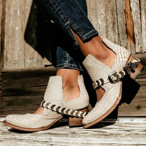 5cb30a08238 womens freebird by steven blade white snake leather bootie with silver  chevron adorned belt