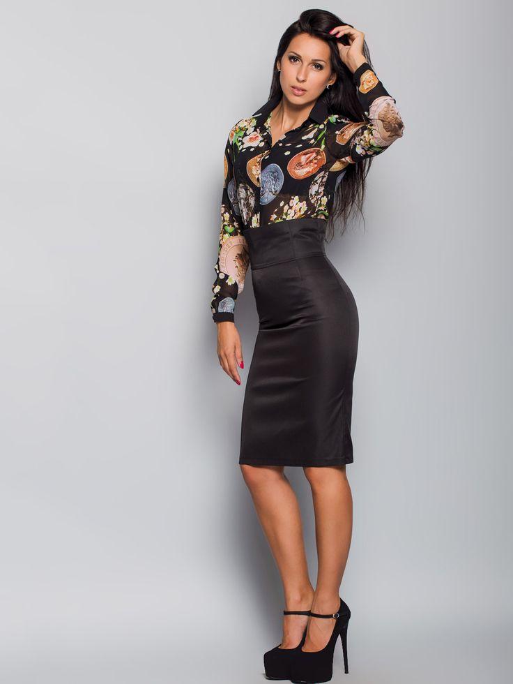 Elegancka wąska spódnica z paskiem zrobiona z trwalej tkaniny kostiumowej.Zawyżona linia talii (pasek - gorset 10,5cm). Dla wygodnego ubierania na całej długości na środkowym szwie jest umieszczony zamek błyskawiczny