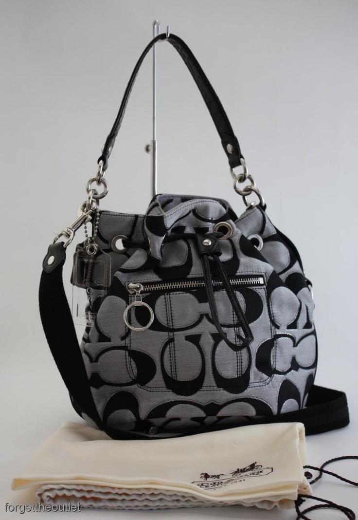 NEW BAGS LISTED!   COACH Poppy SIGNATURE Black Moonlight SIGNATURE LUREX Cinch BAG