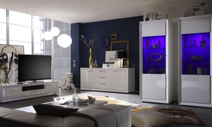Woonprogramma Salina uitgevoerd in de kleur Hoogglans wit met RGB LED verlichting