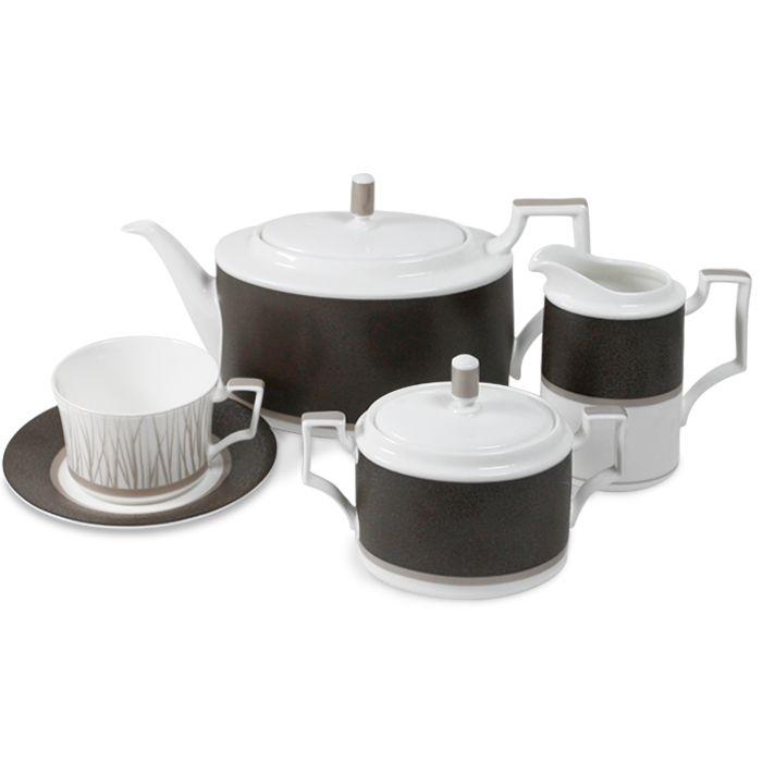 Сервиз чайный, 6 перс, 17 пр, ДомусПосуда из костяного фарфора. Комплектация: 6 чашек, 6 блюдец, чайник (крышка), молочник, сахарница (крышка).