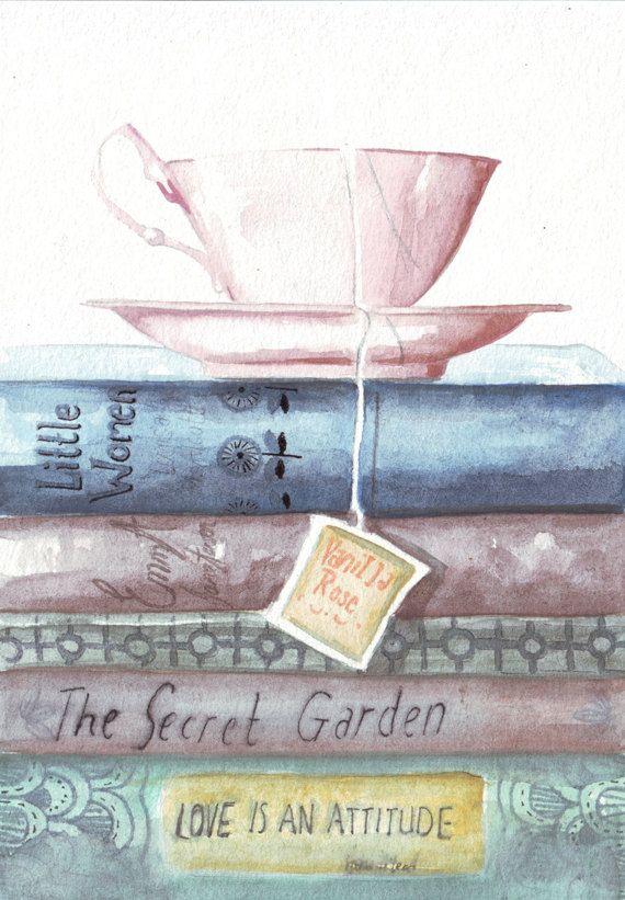 Original watercolor painting teacup vintage books classic reads Emma Jane Austen secret garden art