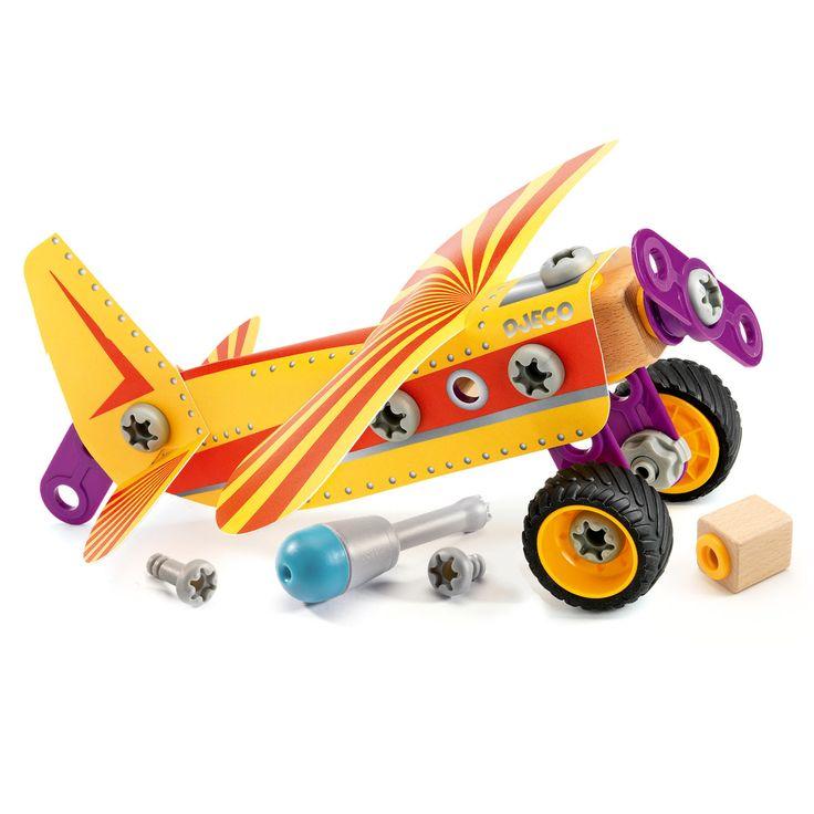 ELI: Djeco zoo block speed fly is een doos met 23 onderdelen en een schroevendraaier om zelf een vliegtuig mee te bouwen, van plastic,metaal,en hout