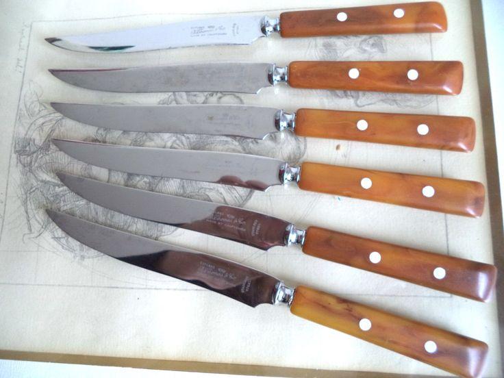 6 pc lot Bakelite Knives 50s B Thomas Sheffield Cutlery Tortoise Swirl Bone Inlay Mint Retro Flatware Mid Century Modern Dining Home Decor by MushkaVintage3 on Etsy
