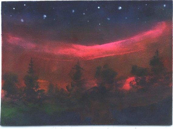 Northern Light Show landscape painting  Jim by jimsmeltzgallery, $25.00: Landscape Paintings, Paintings Jim