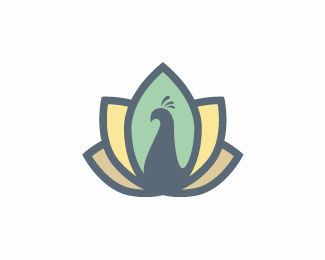 Peacock Logo design - Elegant, stylish and artist representation of a peacock bird. Beautiful stylized shapes create this sophisticated peacock bird design. #logo #logodesign #software #peacock