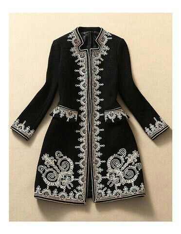Gorgeous black and white embroidered coat