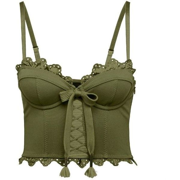 Fenty Puma By Rihanna Ruffle Trim Bustier (£130) ❤ liked on Polyvore featuring tops, shirts, crop, tank tops, olive, lace up top, laced up shirt, green top, olive green top and corset crop top