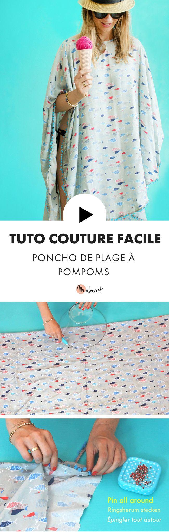 Découvrez ce tuto couture facile pour réaliser un superbe poncho de plage !