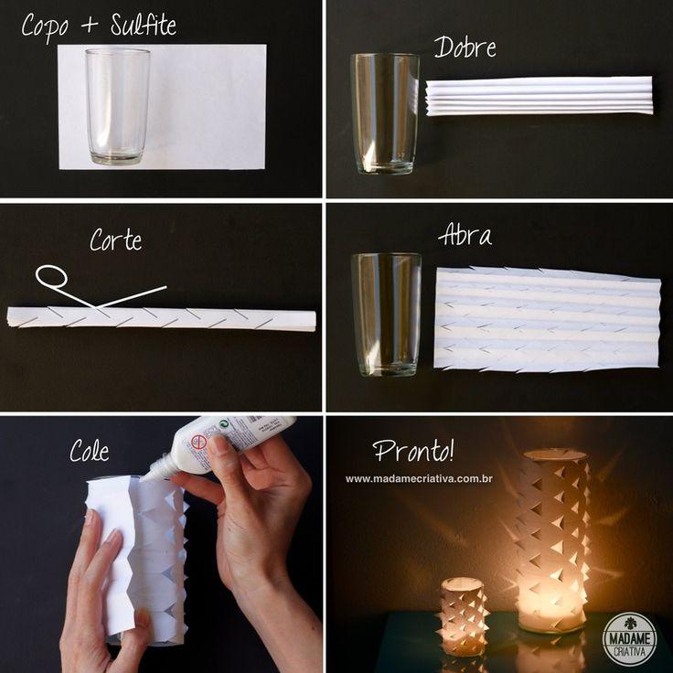 Como fazer porta velas biquinho-  Passo a passo com fotos - How to make a paper and glass candle lamp - DIY tutorial  - Madame Criativa - www.madamecriativa.com.br