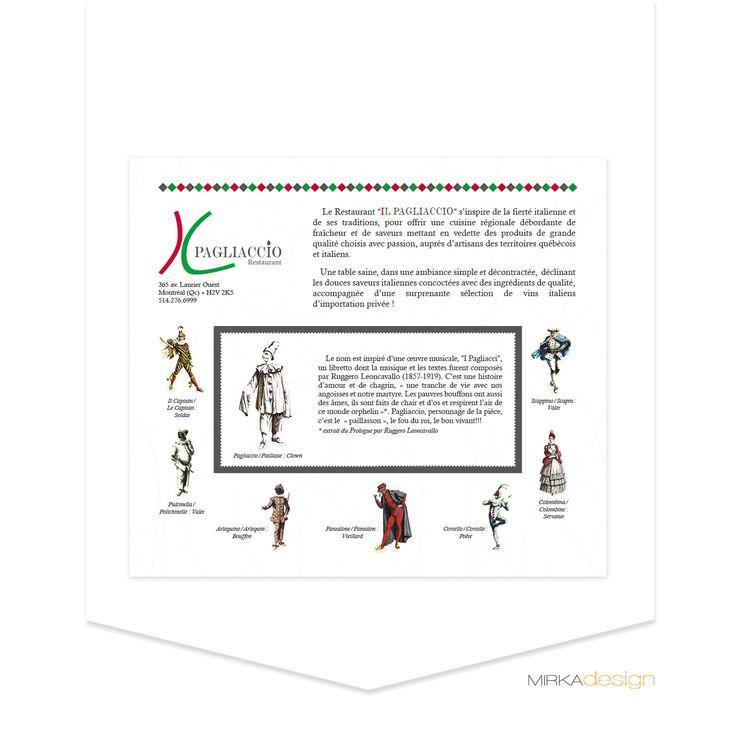 Publicité pour le restaurant Il Pagliaccio