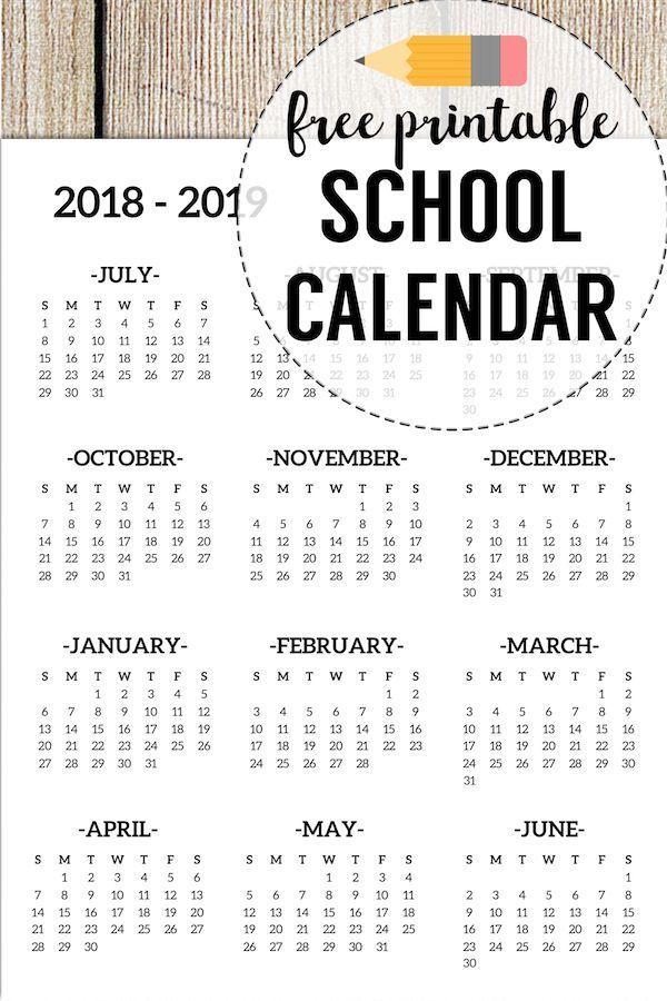 2018-2019 School Calendar Printable Free Template Planners