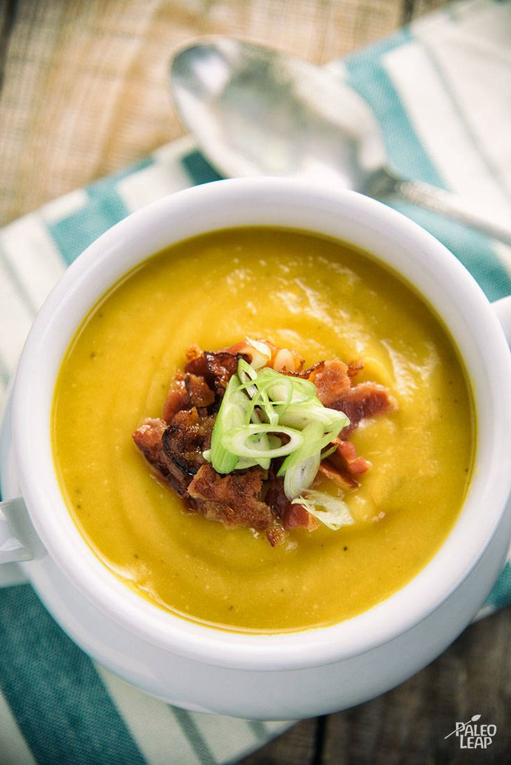 A rich and satisfying slow-cooker soup made with butternut squash, apple, coconut milk and lots of aromatic spices.