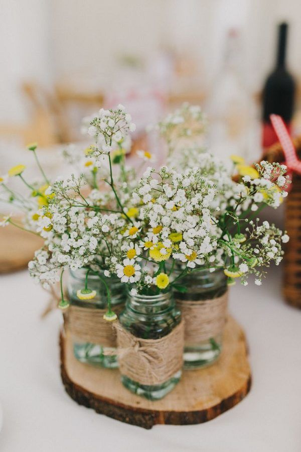 pictures of wedding centerpieces using mason jars%0A    Rustic Budgetfriendly Gypsophila Baby u    s Breath Wedding Ideas
