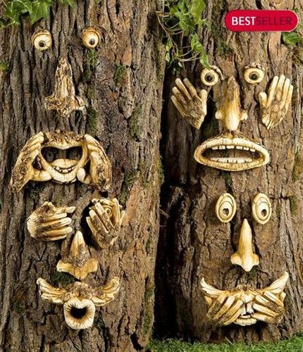 ONE TREE FACE GARDEN YARD DECOR SPEAK HEAR SAY NO EVIL Bark-look magnesia FENCE