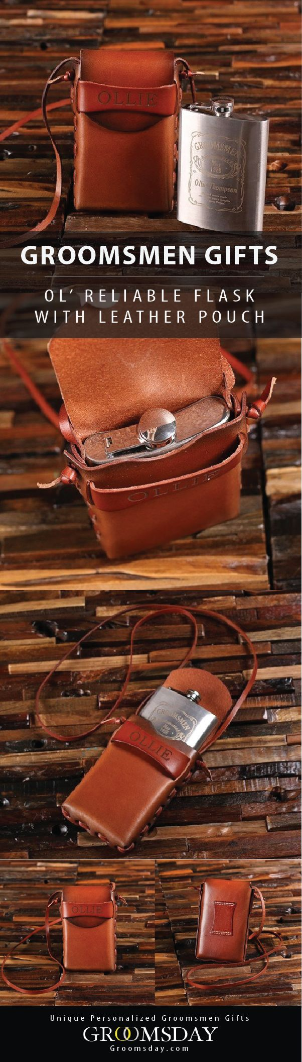 This personalized genuine leather pouch holds an engraved 8oz hip flask for on the go sipping. Perfect for your next camping-themed bachelor party, or with your jet-setting travel bros. Be sure to pin and follow for more travel-worthy groomsmen gifts    Groomsday.com