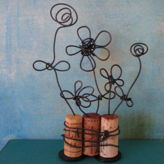 corks and wire flowers