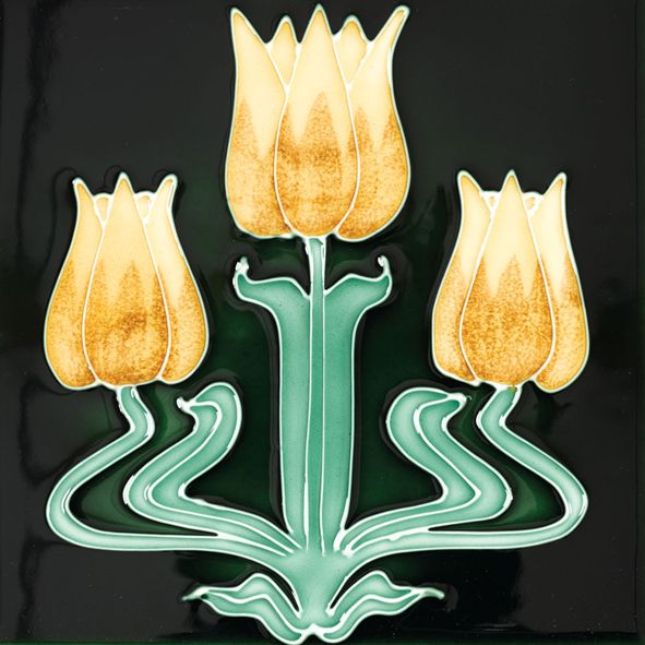 This Stovax Tulips Fireplace Tile is ideal for use in antique & reproduction tiled fireplaces. Reproduced Victorian original, glazed brown background.
