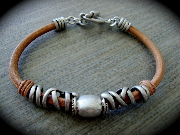 Yogibead Antiqued Tan Leather Bracelet by yogibead on Etsy