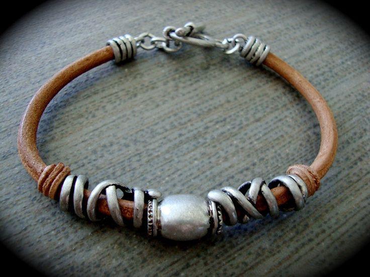 Yogibead Antiqued Tan Leather Bracelet by yogibead on Etsy
