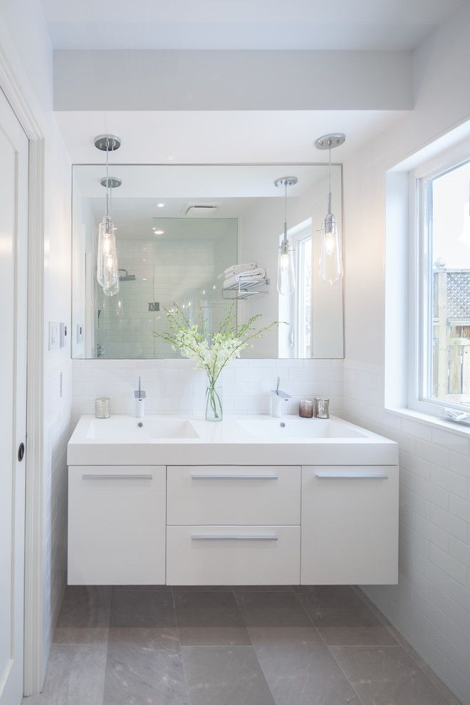 Small Double Sink Vanity Bathroom Contemporary With Bar Pulls