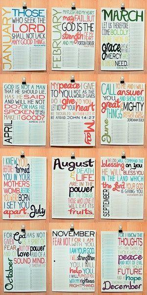 A Scripture passage for every month: January - Psa 34:10. February - Psa 73:26. March - Heb 4:16. April - Num 23:19. May - Jn 14:27. June - Jer 33:3. July - Jer 1:5. August - Prov 18:21. September - Deut 28:8. October - 2 Tim 1:7. November - Isa 41:10. December - Jer 29:11.