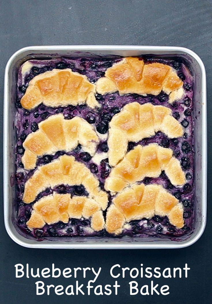 Blueberry Croissant Breakfast Bake - 8 oz cream cheese  - 2/3 sugar - 1 tsp vanilla extract, mix all - then, 2 eggs + 1/4 milk, mix again