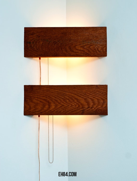 Corner Lamp - reclaimed wood and wire