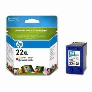 Cartucho de tinta original HP 22 XL de alta capacidad. Tinta: Tricolor. Rendimiento: 415 páginas