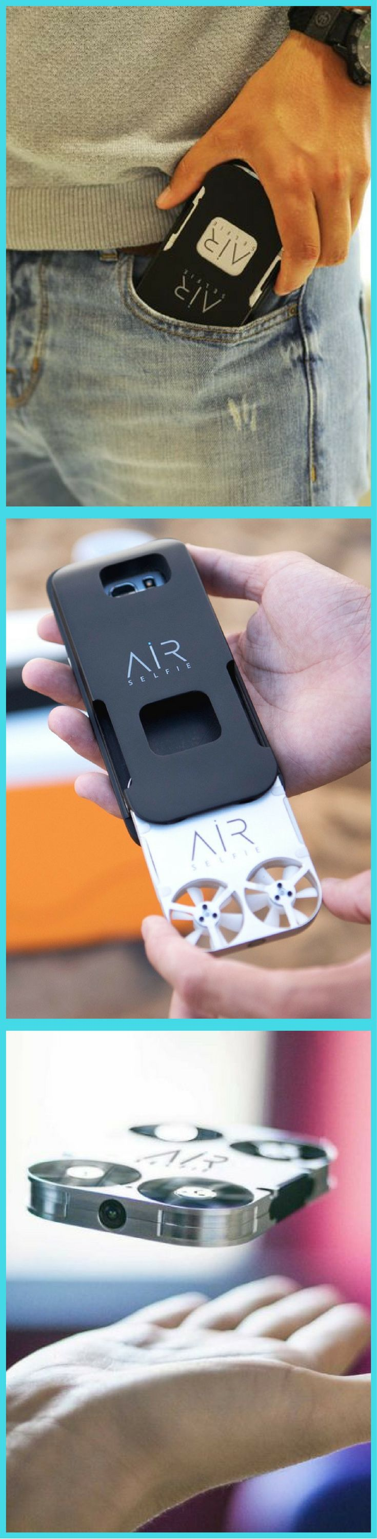 Its the size of a phone and fits in your pocket with your iphone or with Samsung edge 7 INTRODUCING AIRSELFIE