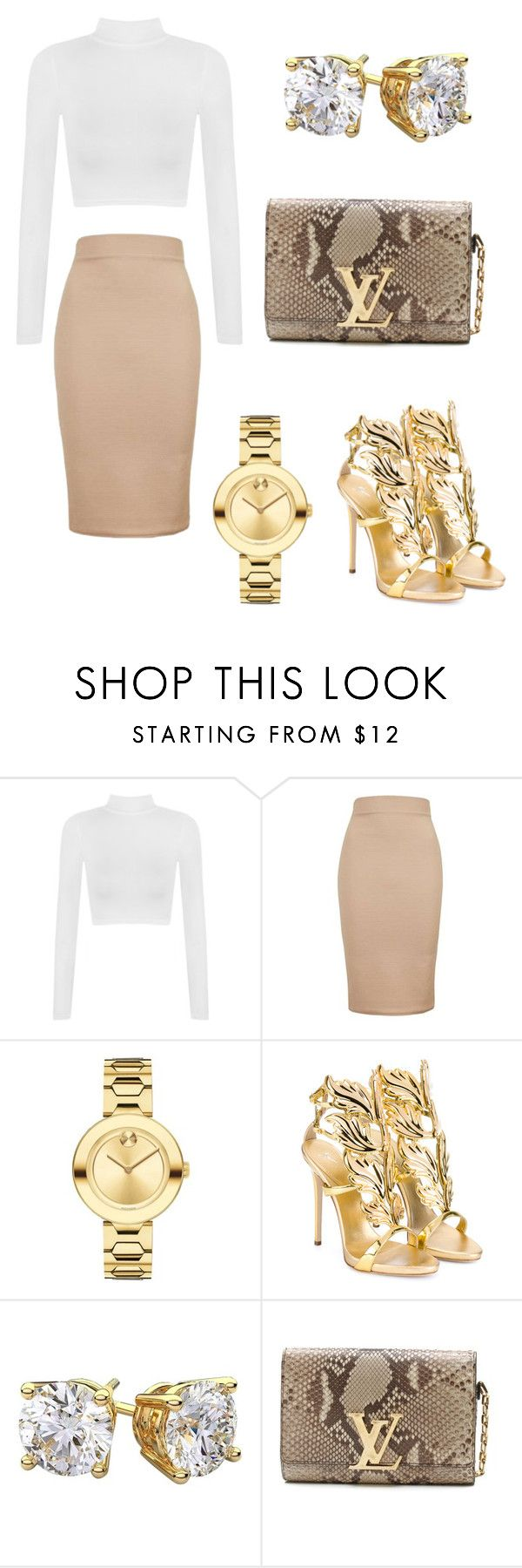 """""""Shila"""" by karon-stylez ❤ liked on Polyvore featuring WearAll, Topshop, Movado, Giuseppe Zanotti and Louis Vuitton"""