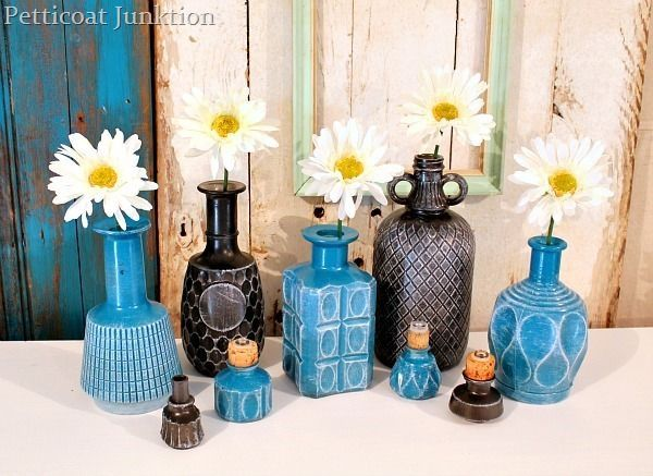 DIY spray painted glass decanters.