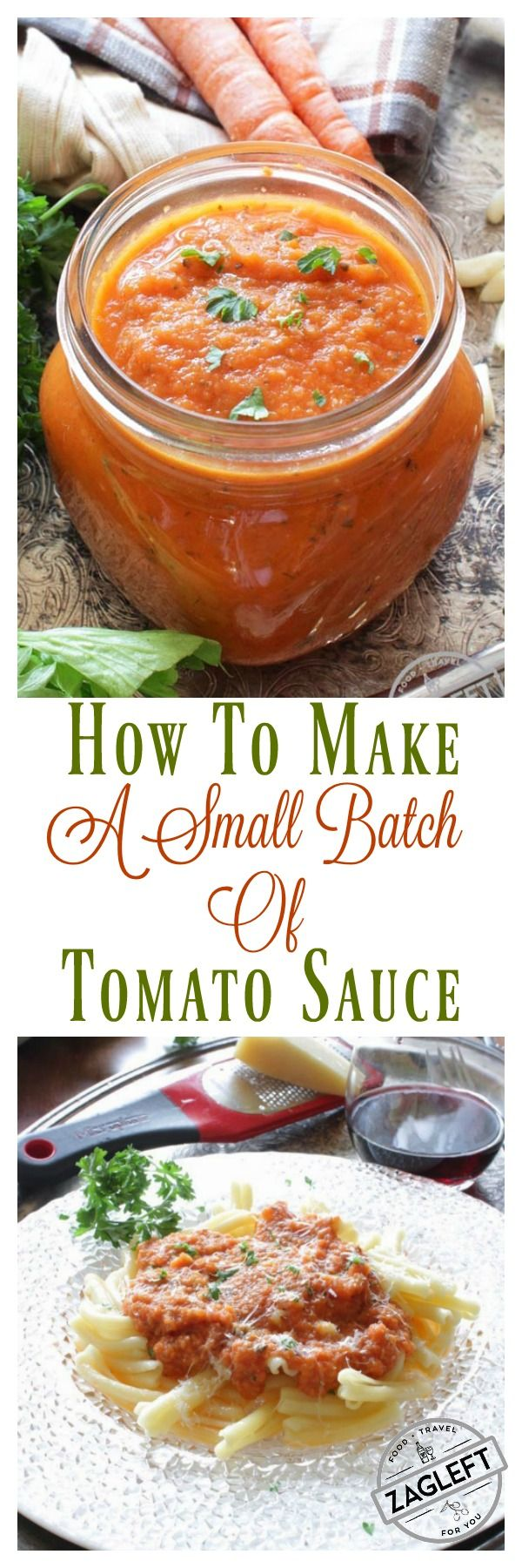 Easy recipe for a small batch of tomato sauce. Quick, easy and full of flavor. For other single serving recipes visit http://zagleft.com