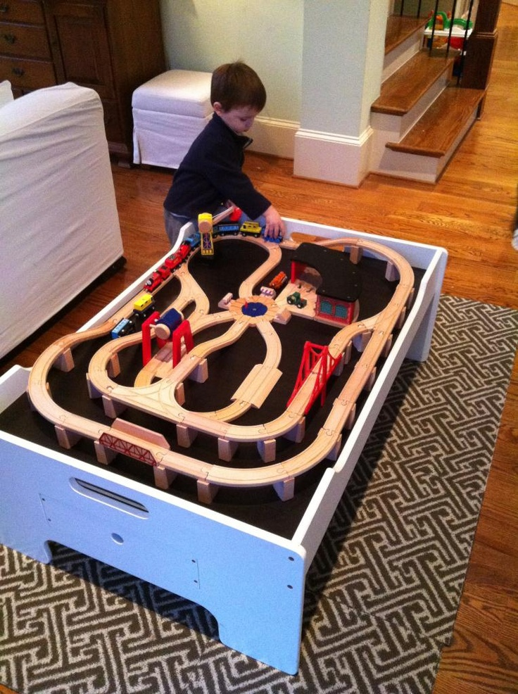 Create insert over train table, glue track down so it's always set up